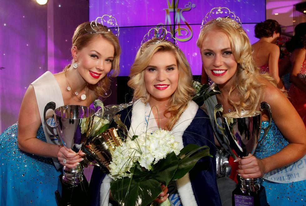 Miss Soumi Finland 2014 winner Bea Toivonen, Krista Haapalaine & Milla Romppanen