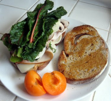 turkey mushrooms and chard on rye
