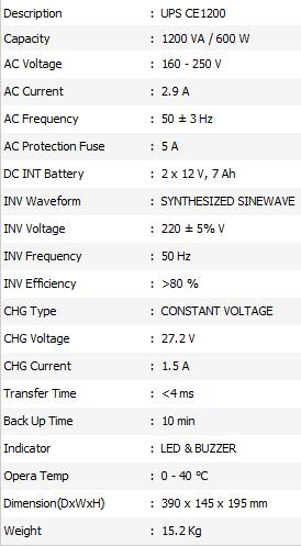 Spesifikasi ICA UPS CE1200