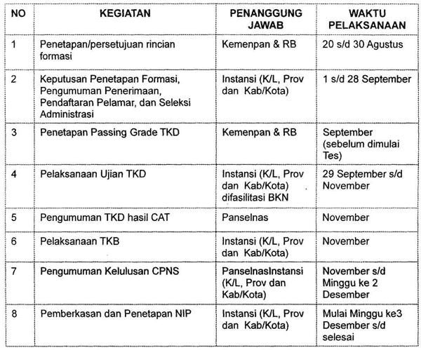 Jadwal Pelaksanaan Seleksi CPNS dari Pelamar Umum dengan Sistem Computer Assisted Test (CAT)