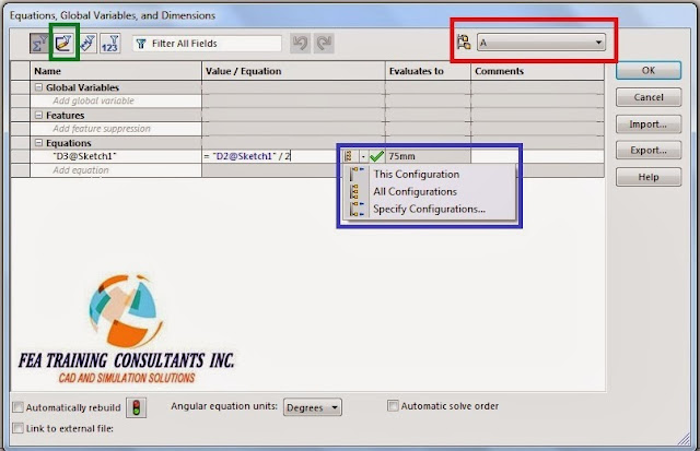 solidworks configrations to equations- new in solidworks 2014