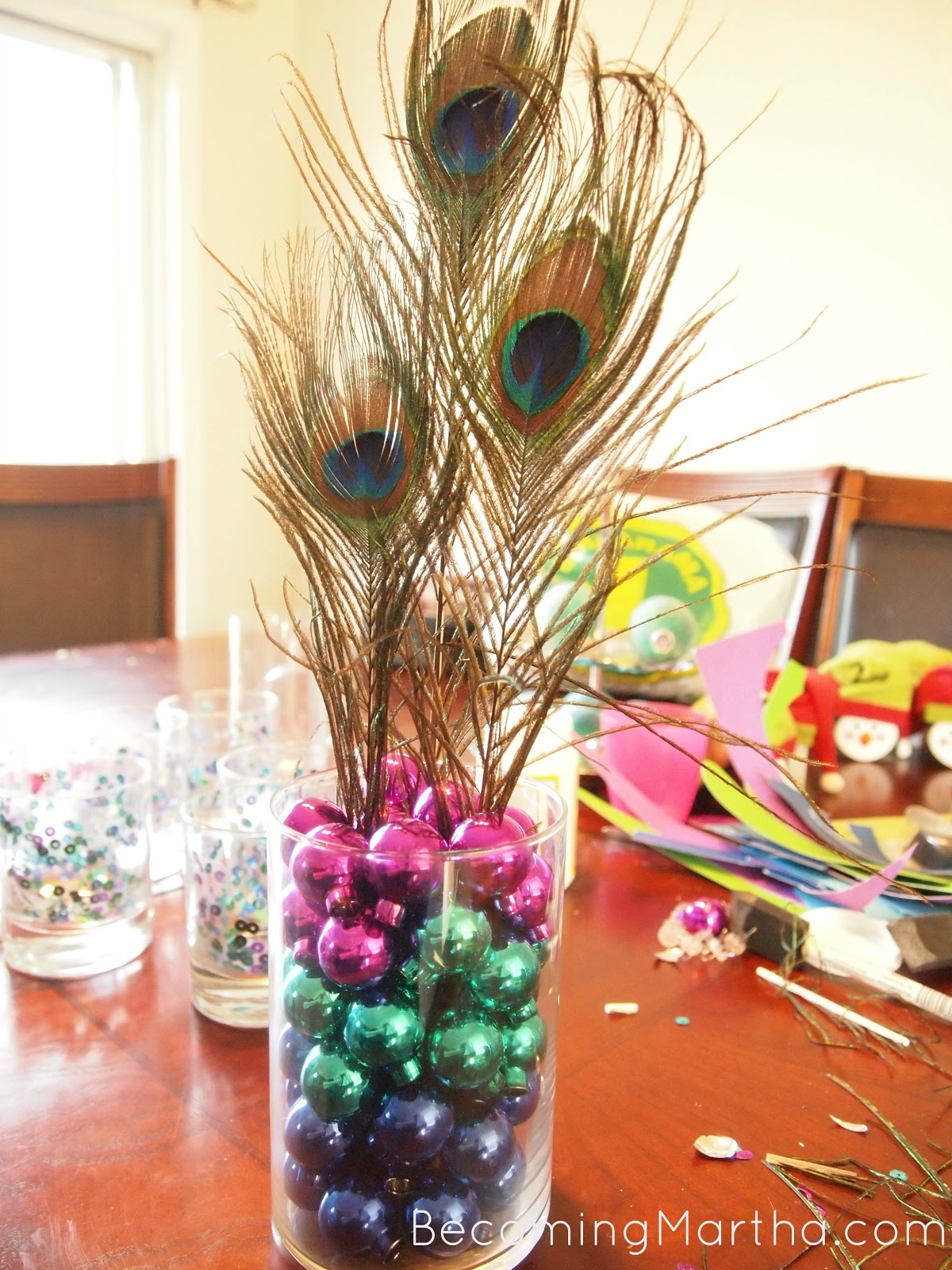Peacock centerpiece for a party or modern christmas decor