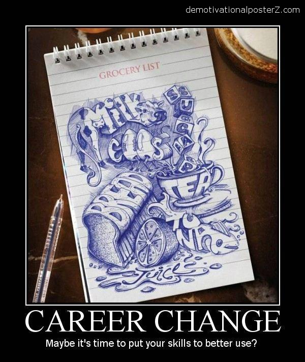 career change drawing, milk, bread, eggs, groceries