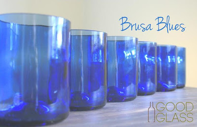 cobalt blue recycled glassware from wine bottles in Uganda