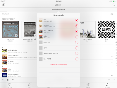 Music app downloads the songs and make them available offline