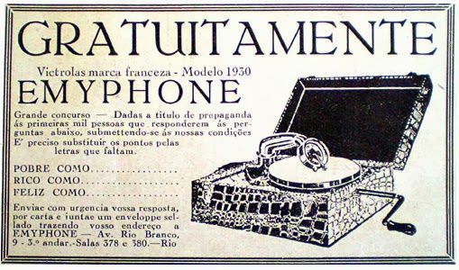 Propaganda do Emyphone de 1930. Concurso cultural antigo.