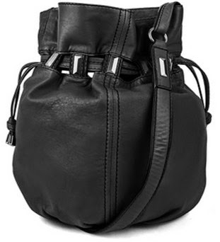 Kooba's Echo Leather Drawstring Bucket Bag in Black
