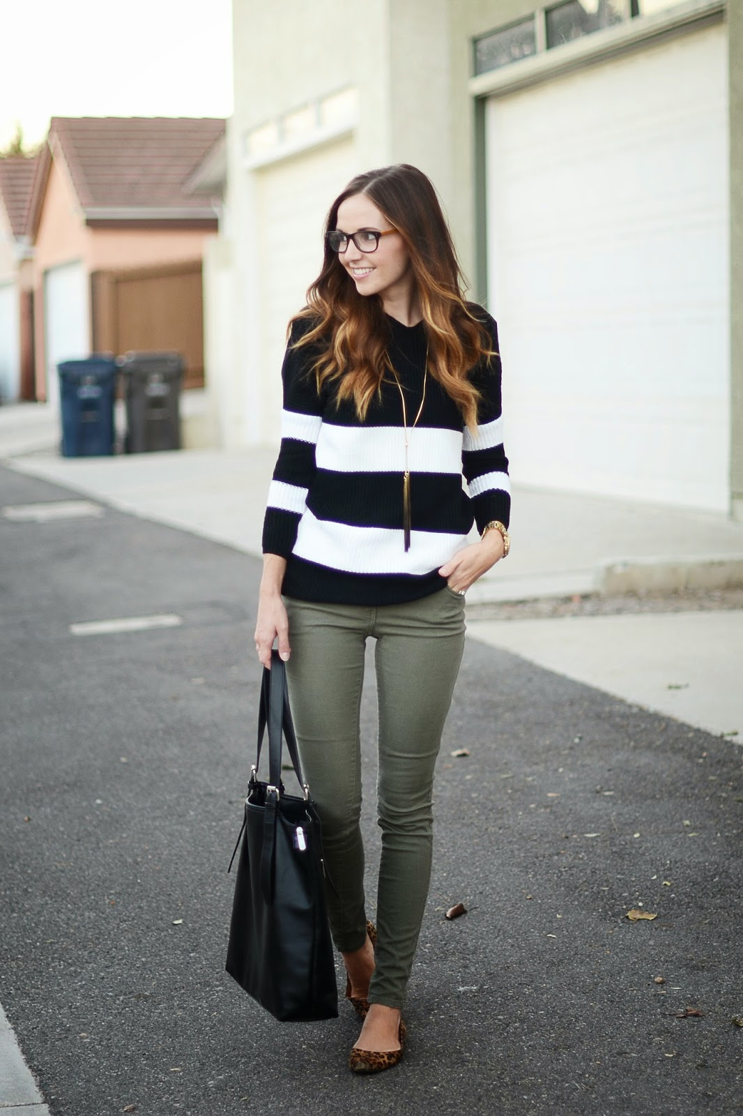 Olive Green and White with Black Stripes
