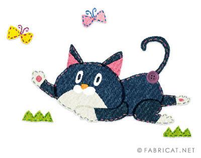 蝶と遊んでいる可愛い猫のイラスト