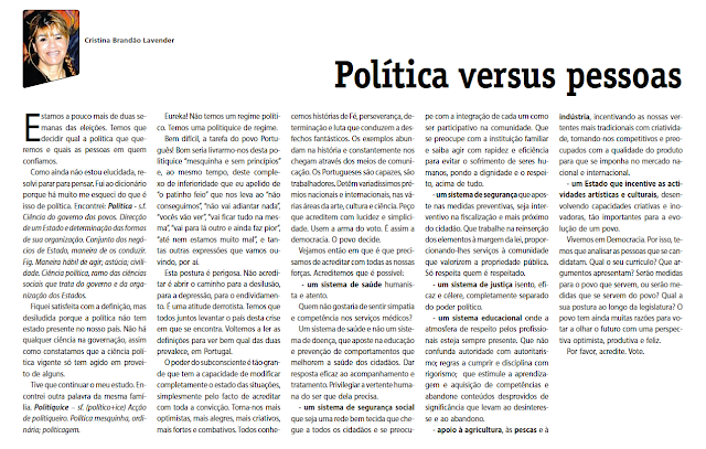 Política versus Pessoas – Publicado no DM 24 de Maio de 2011