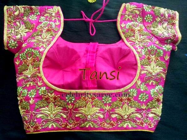 Maggam Work Blouse In Pink