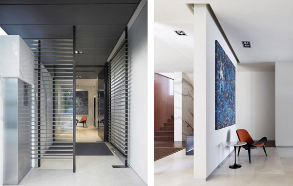 Photos of entrance hallway with abstract painting on the wall