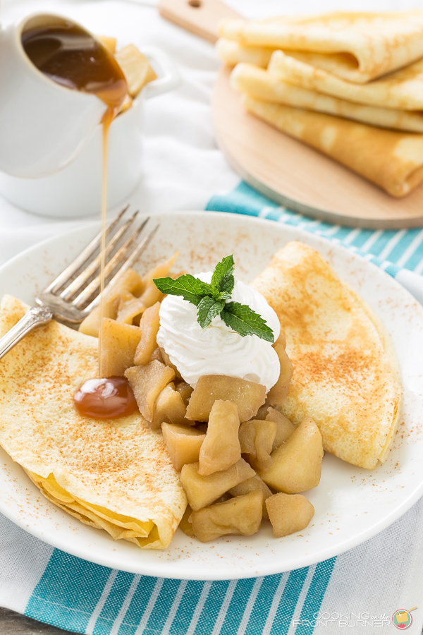 Apple Crepes with Caramel Sauce   Cooking on the Front Burner