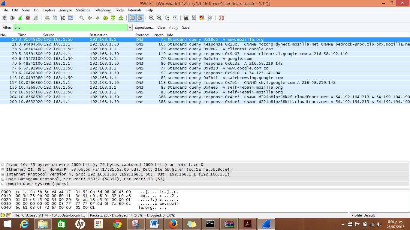 CCNA CISCO: USO DE WIRESHARK PARA EXAMINAR UNA CAPTURA UDP DE DNS