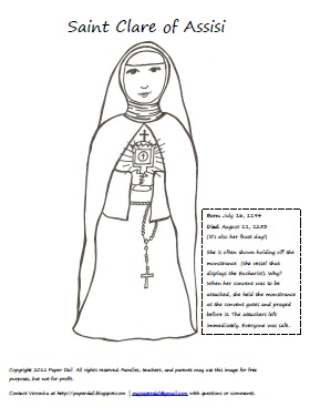 All Saints Day Coloring Pages http://paperdali.blogspot.com/2011/08/saint-clare-of-assisi.html