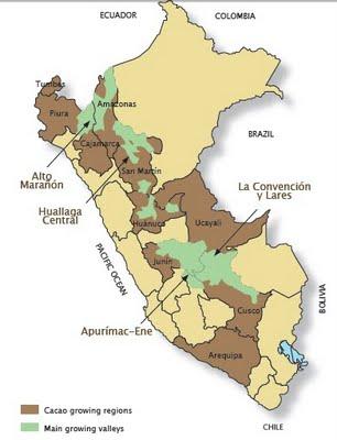 Mapa de producción del Cacao.