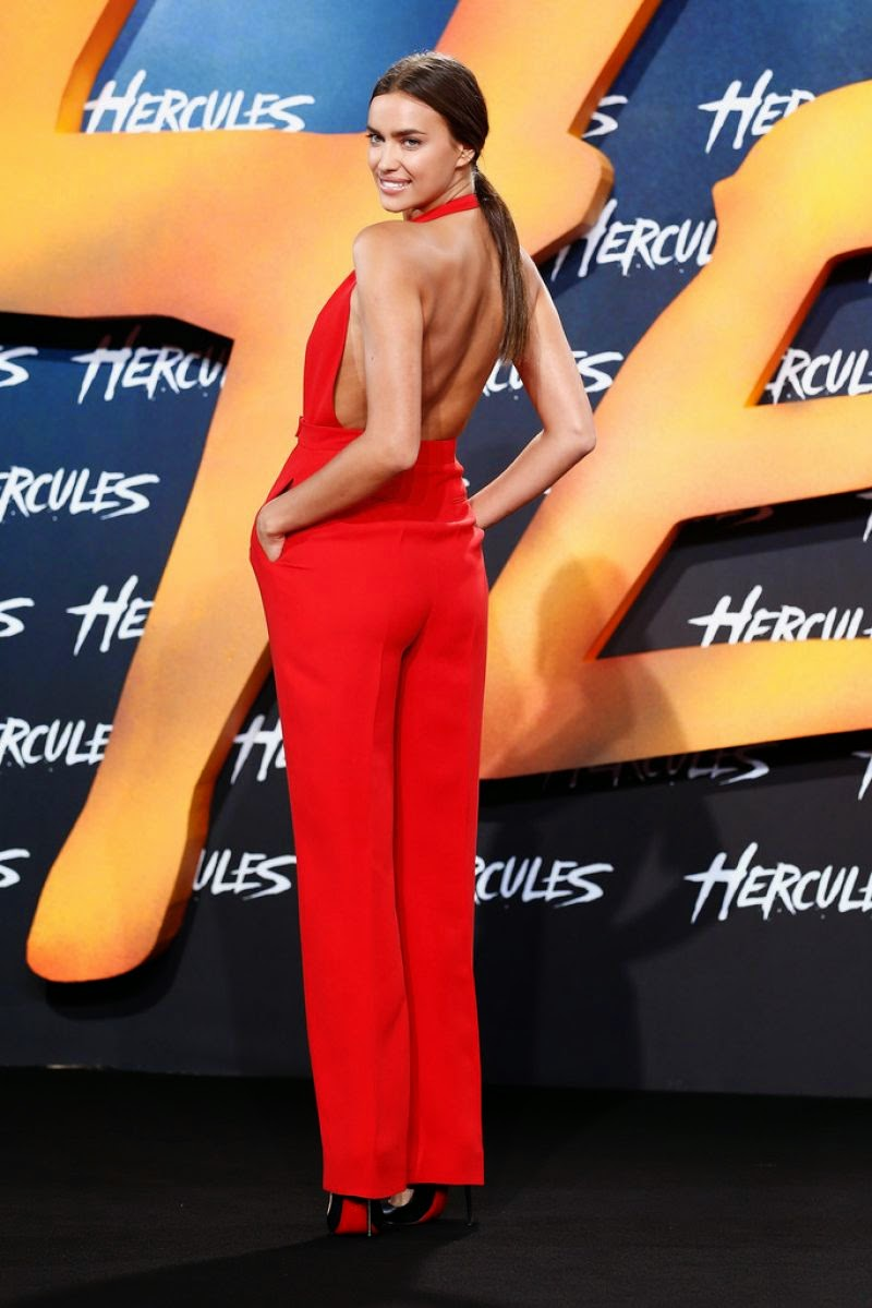 Irina Shayk is red hot in a plunging jumpsuit at the 'Hercules' Berlin premiere