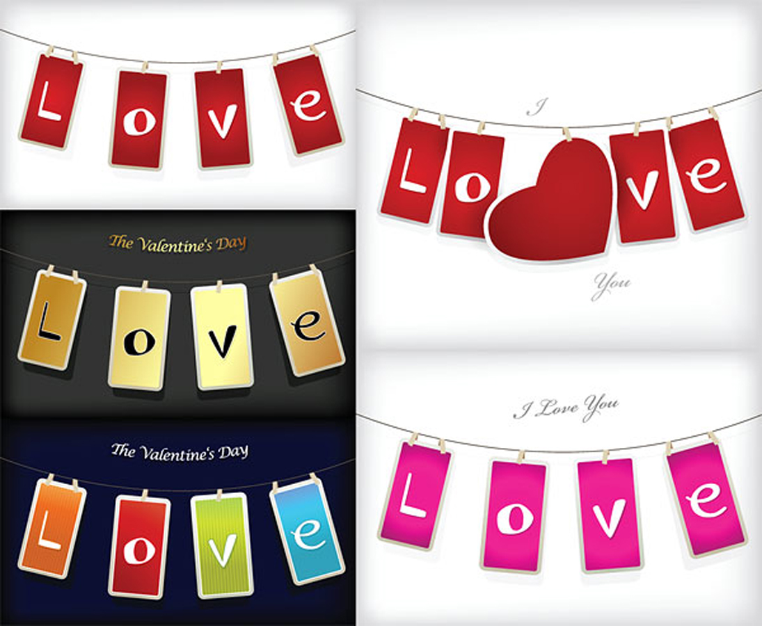 """バレンタインデー """"LOVE""""のタグ love Valentine's Day tag イラスト素材"""