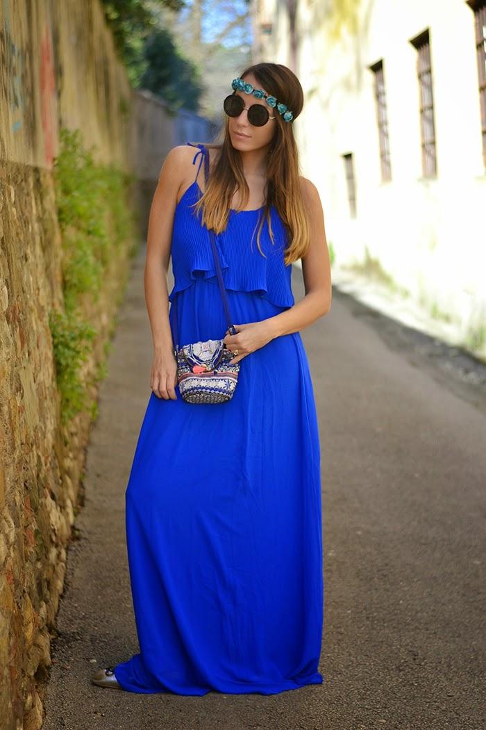 abito lungo blu elettrico