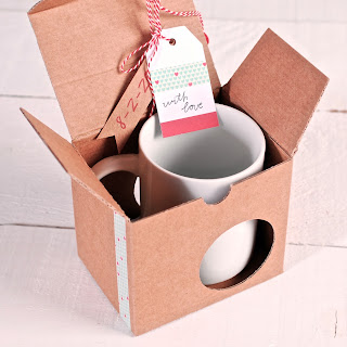 Boîte pour tasses, washi tape coeurs, masking tape, selfpackaging, self packaging, selfpacking