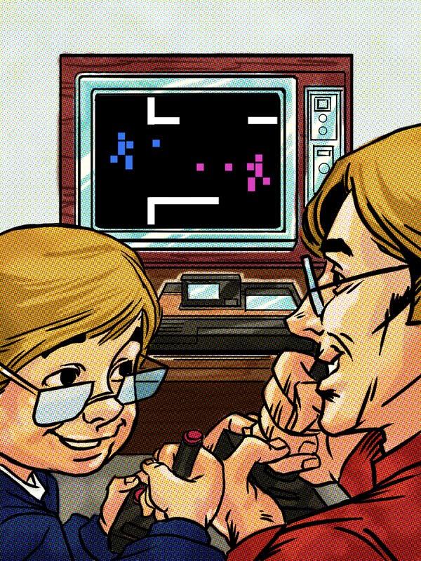 illustration de Vince Chui représentant un père et son fils jouant à un jeu video type atari