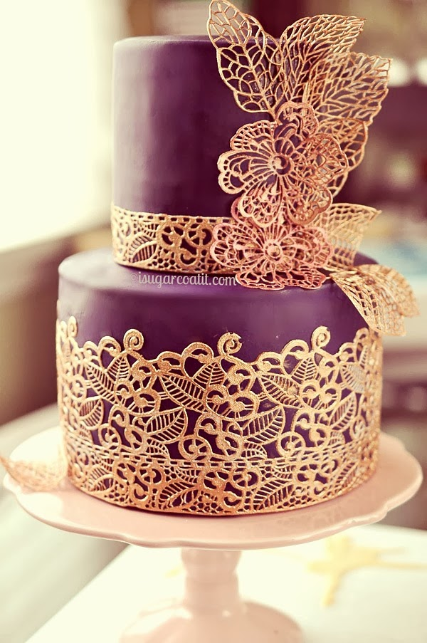 Sugar Lace Engagement Cake