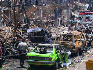 Bali bombings in 2002 with great destruction.