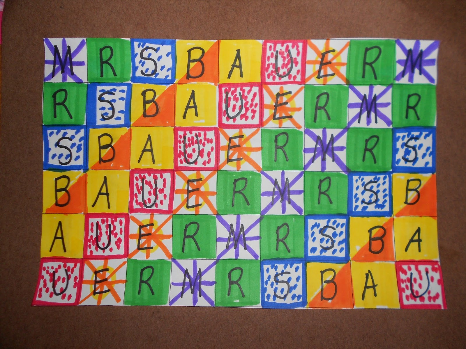 Classroom Design Patterns ~ Classroom freebies too pattern art with names