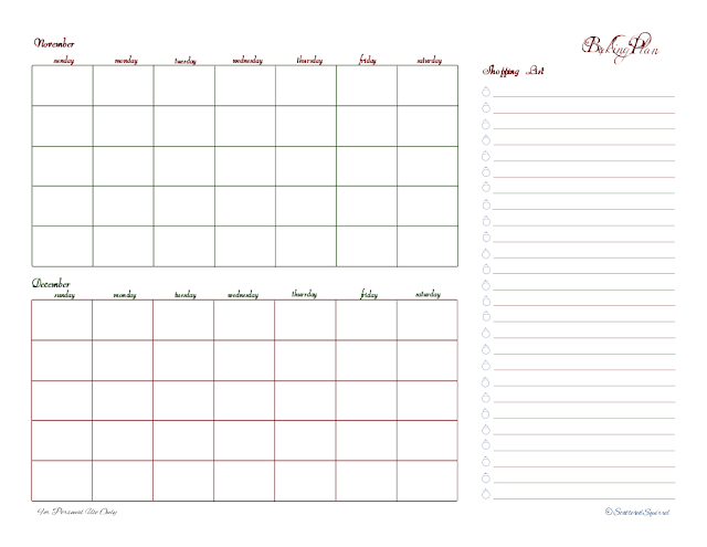 free printable, baking, shopping list, schedule, blank calendars