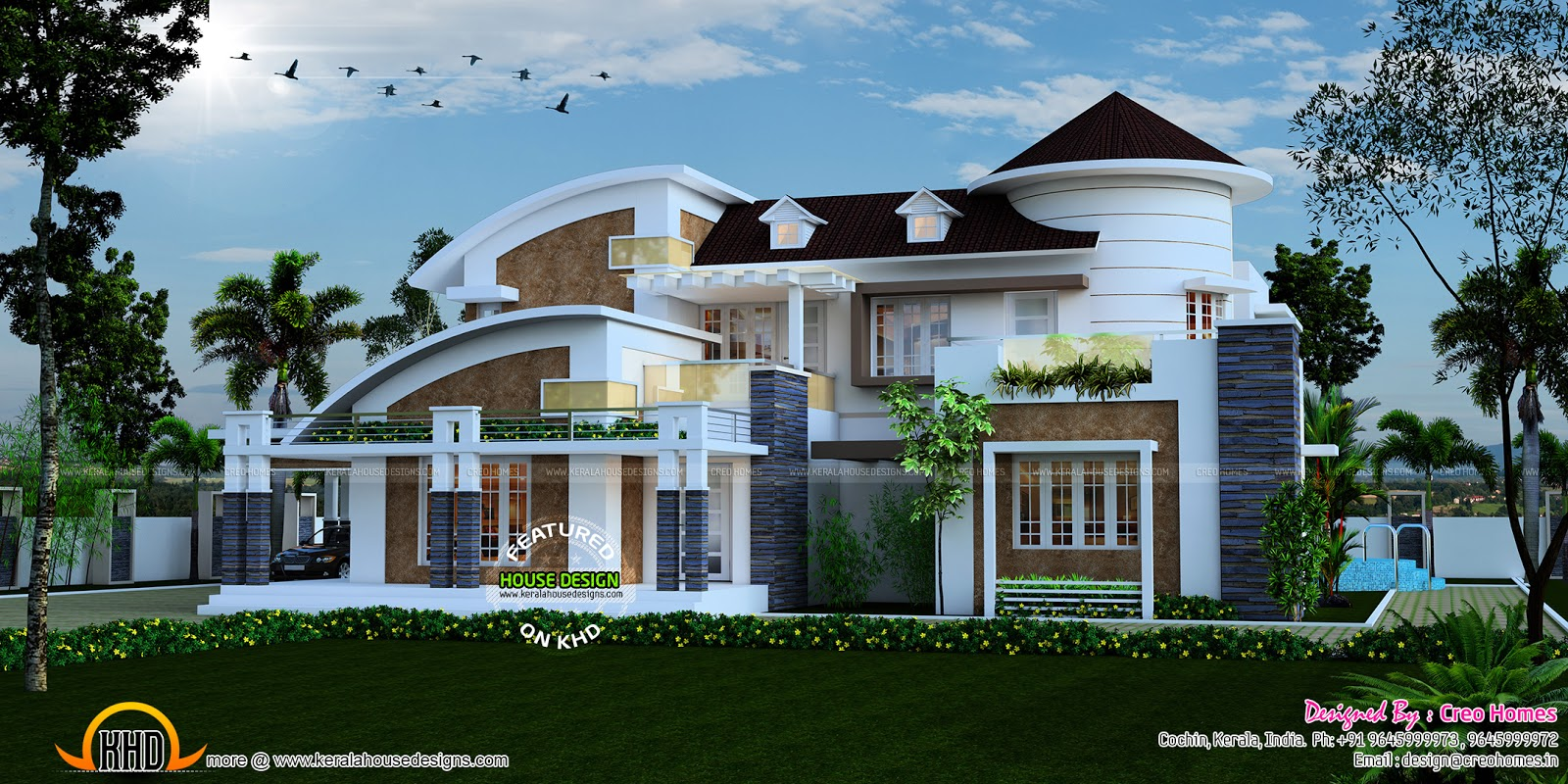 3 BHK Slanting Roof Home Keralahousedesigns