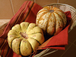 Two Whole Sweet Dumpling Squash in Basket