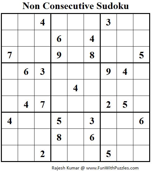 Non Consecutive Sudoku (Fun With Sudoku #64)