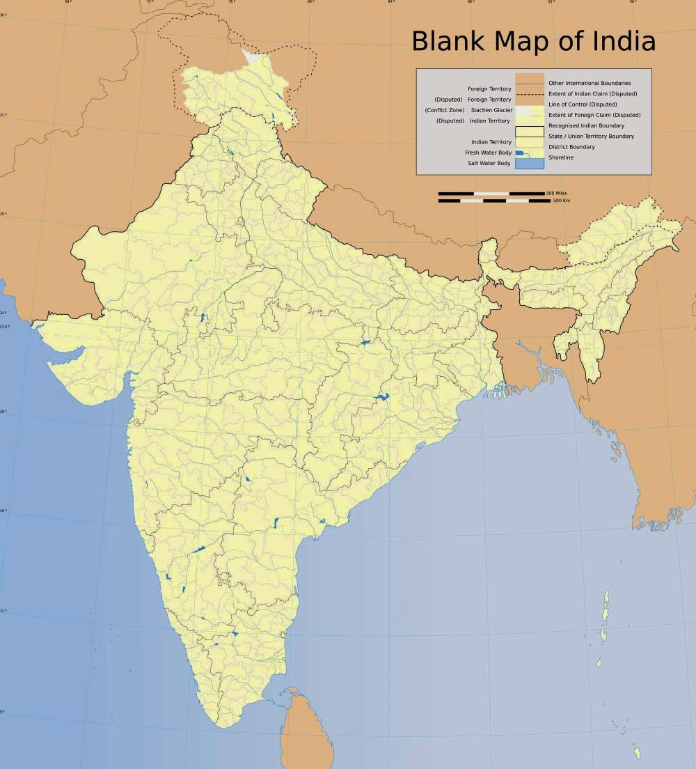 Blank map of India showing the Indian states' boundaries