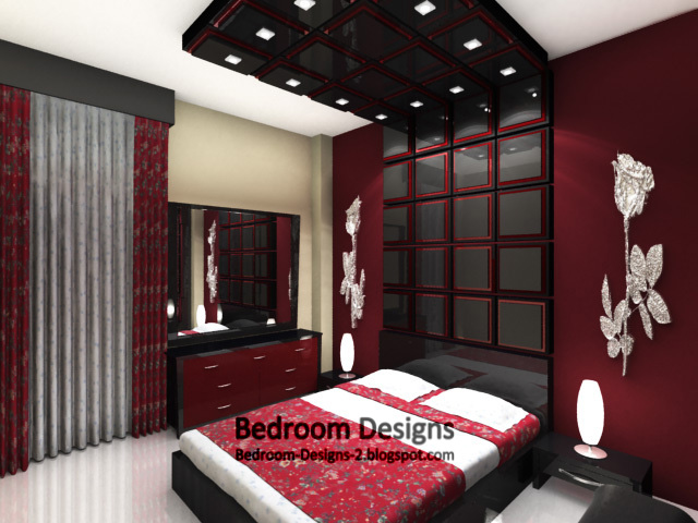 Bedroom Design Ideas In Red red small bedroom design with mirror tiles