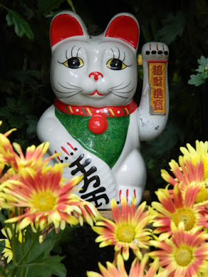 Maneki-neko Beckoning cat at the  Allan Gardens Conservatory 2015 Chrysanthemum Show by garden muses-not another Toronto gardening blog