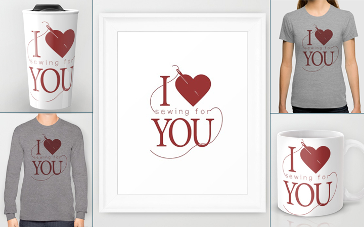 I Heart [Sewing for] You! -- available on tees and more at society6 from The Inspired Wren