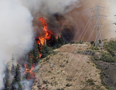 Flames from the Taylor Bridge Fire climb the side of Lookout Mountain east of Cle Elum