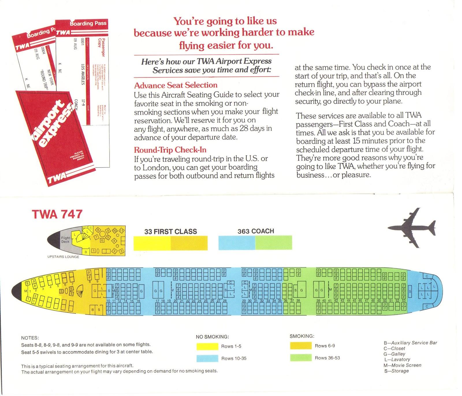 TWA 747 seat map
