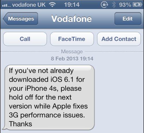 Problemi di batteria, surriscaldamento e connessione 3G Vodafone per il nuovo iOS 6.1 di Apple