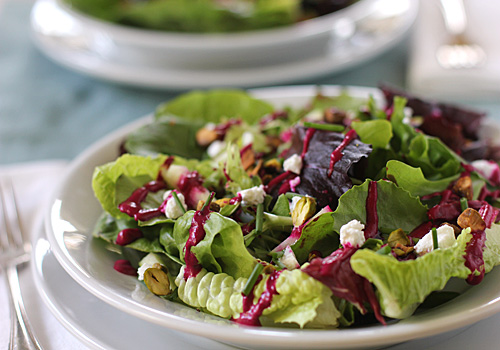 The Galley Gourmet: Mixed Green Salad with Goat Cheese, Pistachios ...