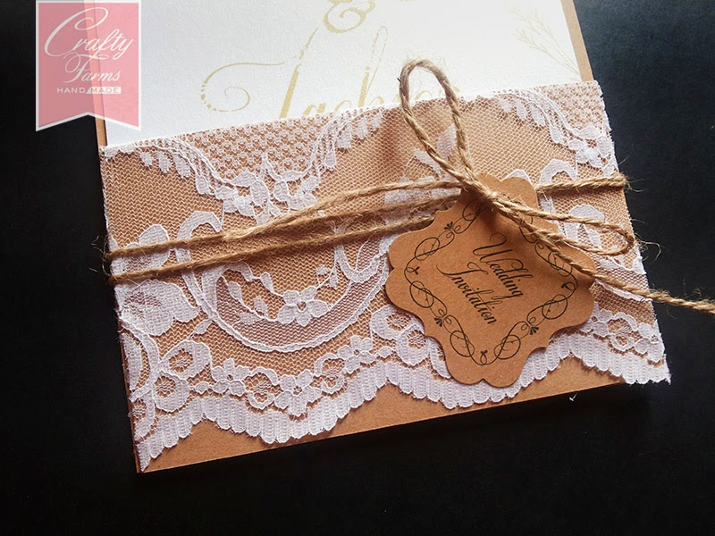 Vintage garden themed wedding card with lace and brown twine
