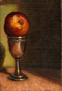 Oil painting of a nectarine in a sliver-plated egg cup.