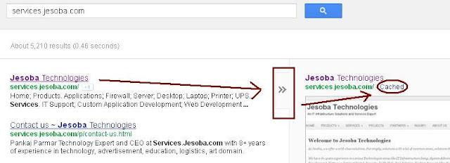 Acess Website offline Google Cache