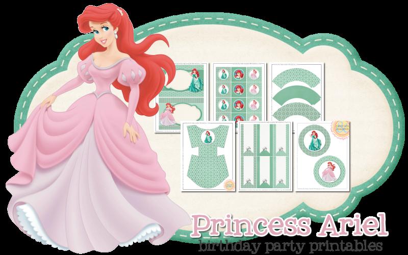 Imprimible gratis de Ariel - Fiesta de princesas
