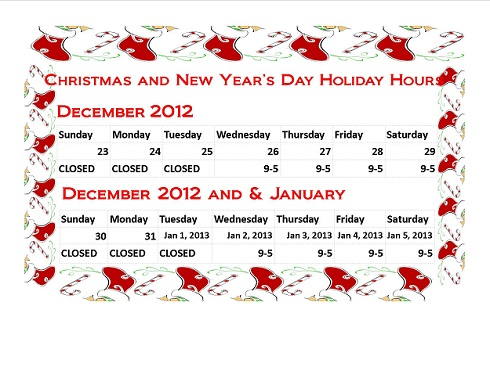 Christmas and New Year's Day Holiday Hours