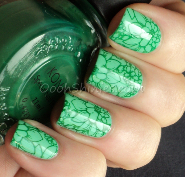 Glitter Gal She's Cactus with Konad Green and MoYou-London Pro collection 06