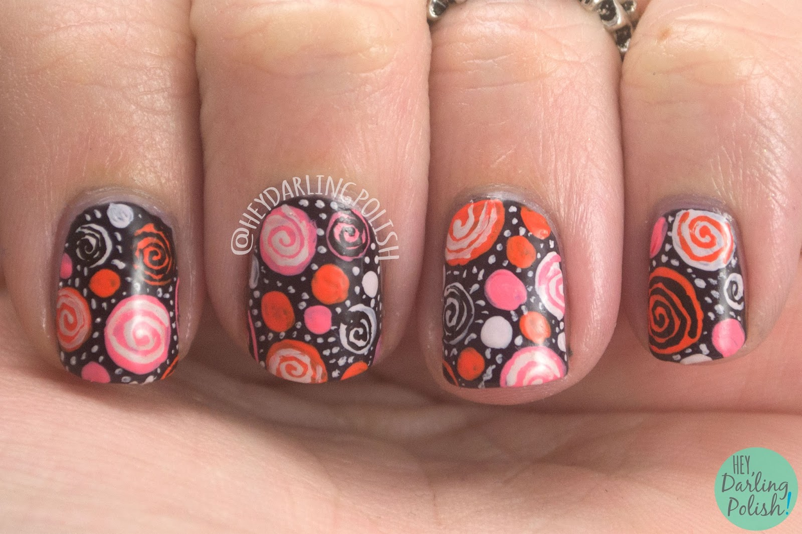 nails, nail art, nail polish, dots, polka dots, free hand, hey darling polish, the nail challenge collaborative, book, the penguin poet