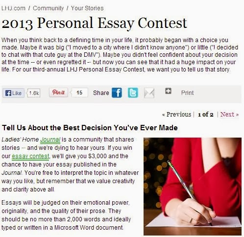 personal essay contests 2013