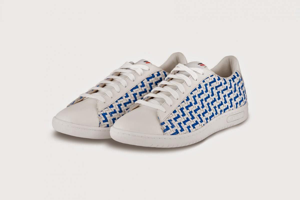 Tennis cuir blanc bleu tressé canvas Arthur Ashe Le Coq Sportif x Colette