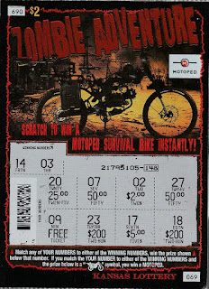 Front of Kansas Zombie Adventure Lottery Ticket #69